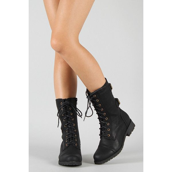 Timberly-02 Lace Up Military Mid Calf Boot (125.120 COP) ❤ liked on Polyvore featuring shoes, boots, military style boots, side zip boots, military boots, shearling-lined boots and laced boots