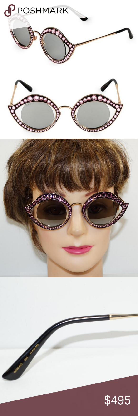 a3fd2df2108 GUCCI CAT EYE LIPS GOLD PINK CRYSTAL SUNGLASSES Brand New 100% Authentic GUCCI  LIPS CRYSTAL