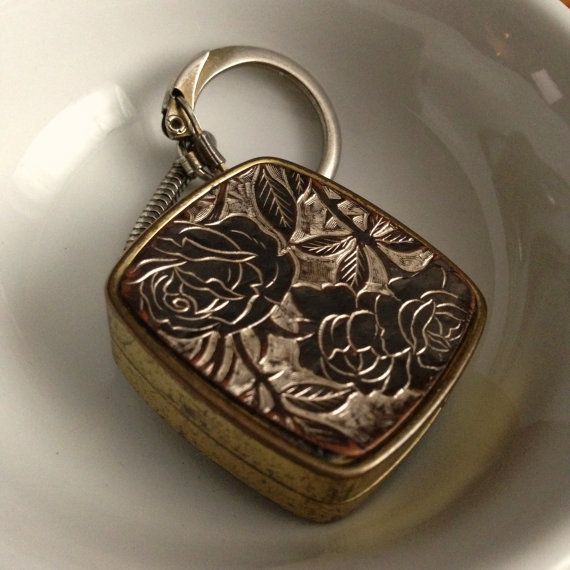 Vintage Music Box Keychain Sankyo Gold Plated Floral Jewelry