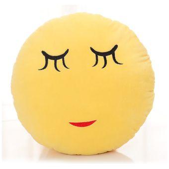360DSC Cute Cartoon Creative QQ Expression Emoji Emoticon Yellow Round Face Cushion Pillow Throw Pillow Stuffed Plush Soft Toy - Shy