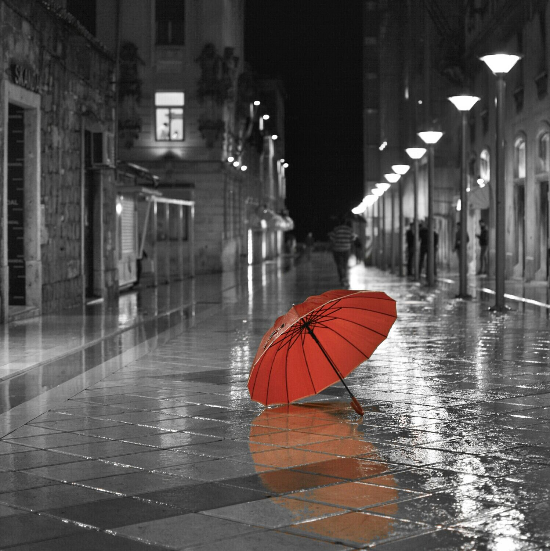 rainy night red umbrella black amp white with some