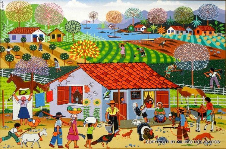 Resultado de imagem para pintura naif vilarejo