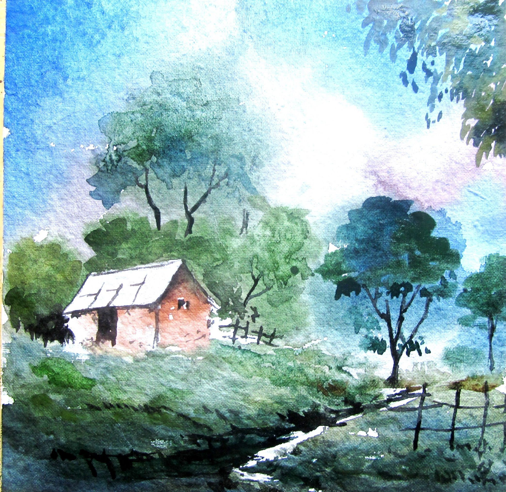 How To Paint Landscape Painting Watercolor Painting Tutorial