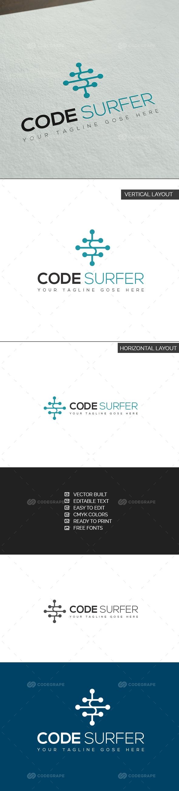 Code Surfer Logo Adobe illustrator software, Surfer