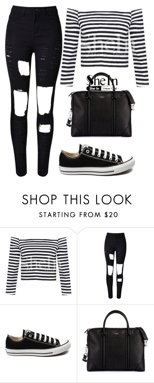 """crop T-Shirt"" by milovanovic ❤ liked on Polyvore featuring Converse and Givenchy"
