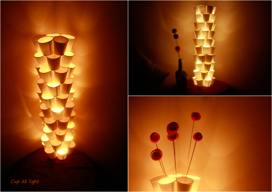 Cup dé light: Tutorial | Diy lamp, Diy cups, Recycled lamp