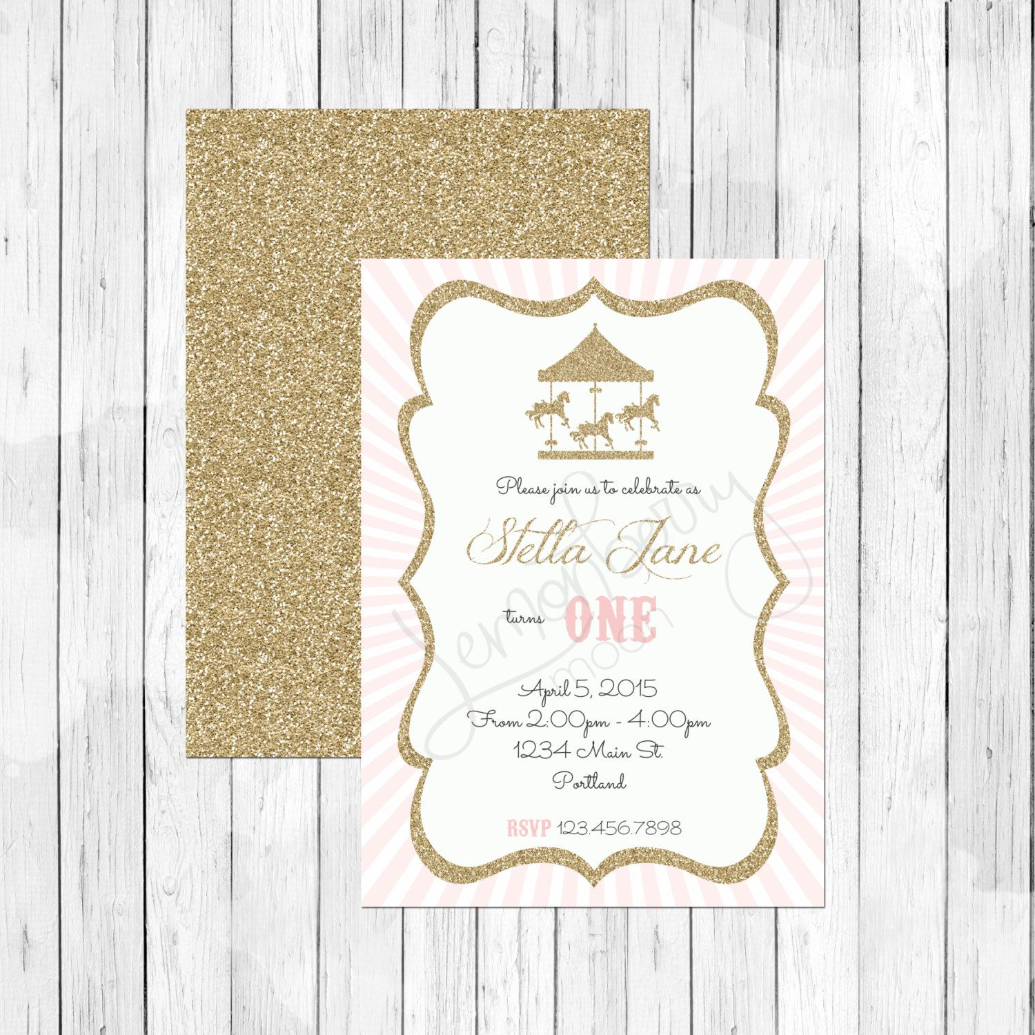 Gold Glitter and Pink Circus Carnival Theme Birthday Invitation ...