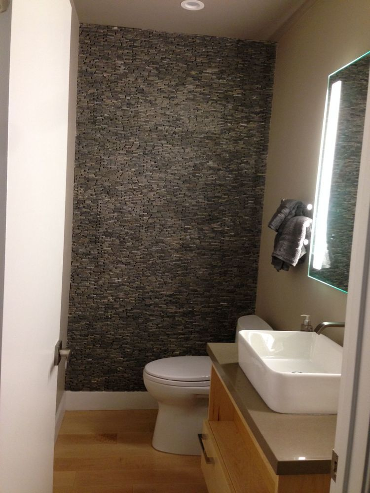 Grey Standing Mosaic Bathroom Feature Wall Bathroom Feature Wall Bathroom Wall Decor Elegant Bathroom