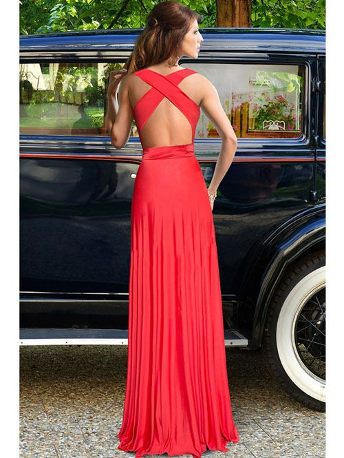 Plunging neck solid graceful sexy backless maxi dress YR-60924