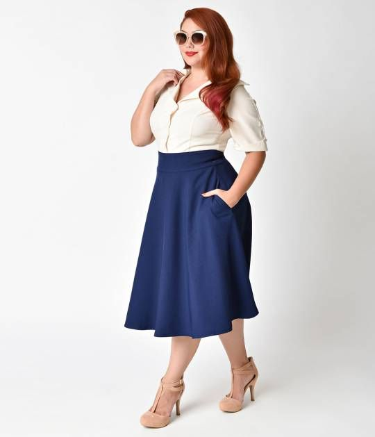 b8a6e6fe8be5c Unique Vintage Plus Size Retro Style Navy Blue High Waist Vivien Swing Skirt