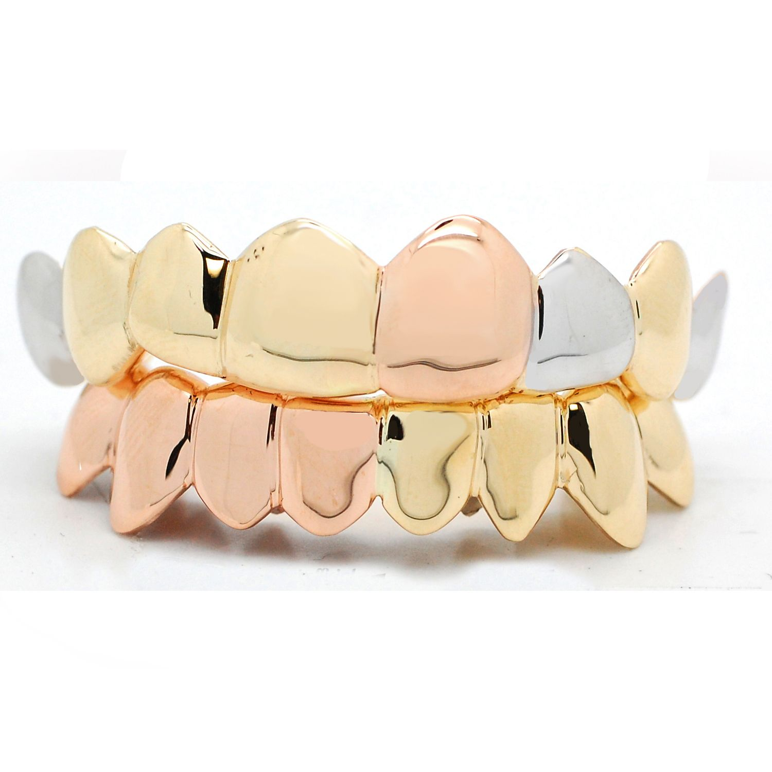 Tricolor Rose Yellow White Gold Solid Grillz Gold Grillz Grillz Silver Grillz