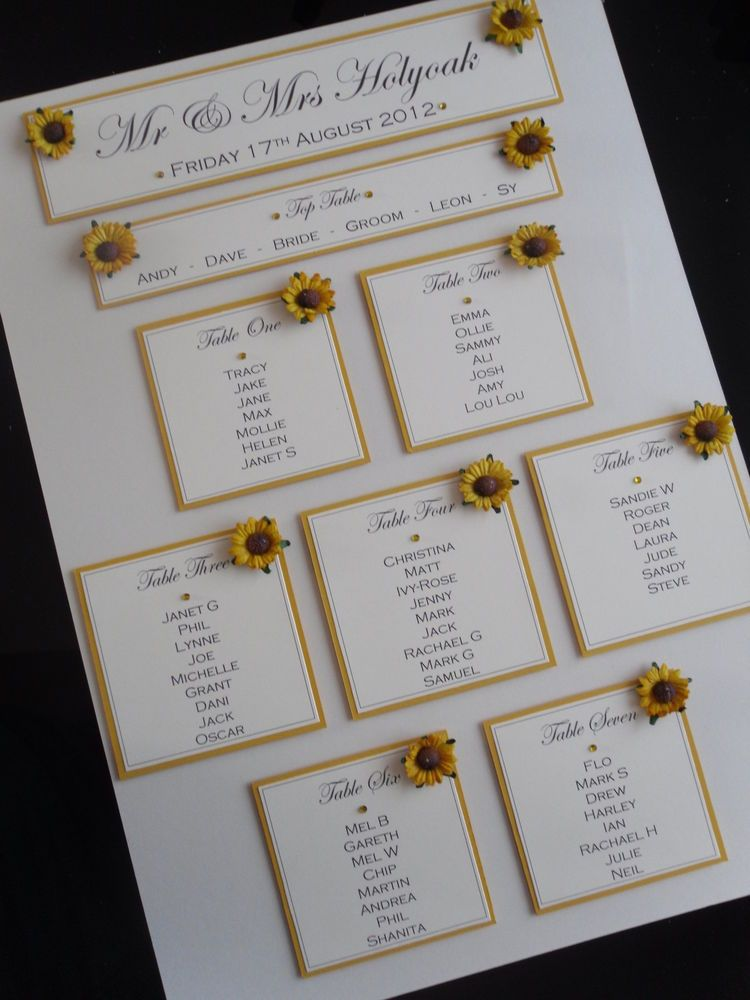 a3 handmade personalised sunflower wedding table seating