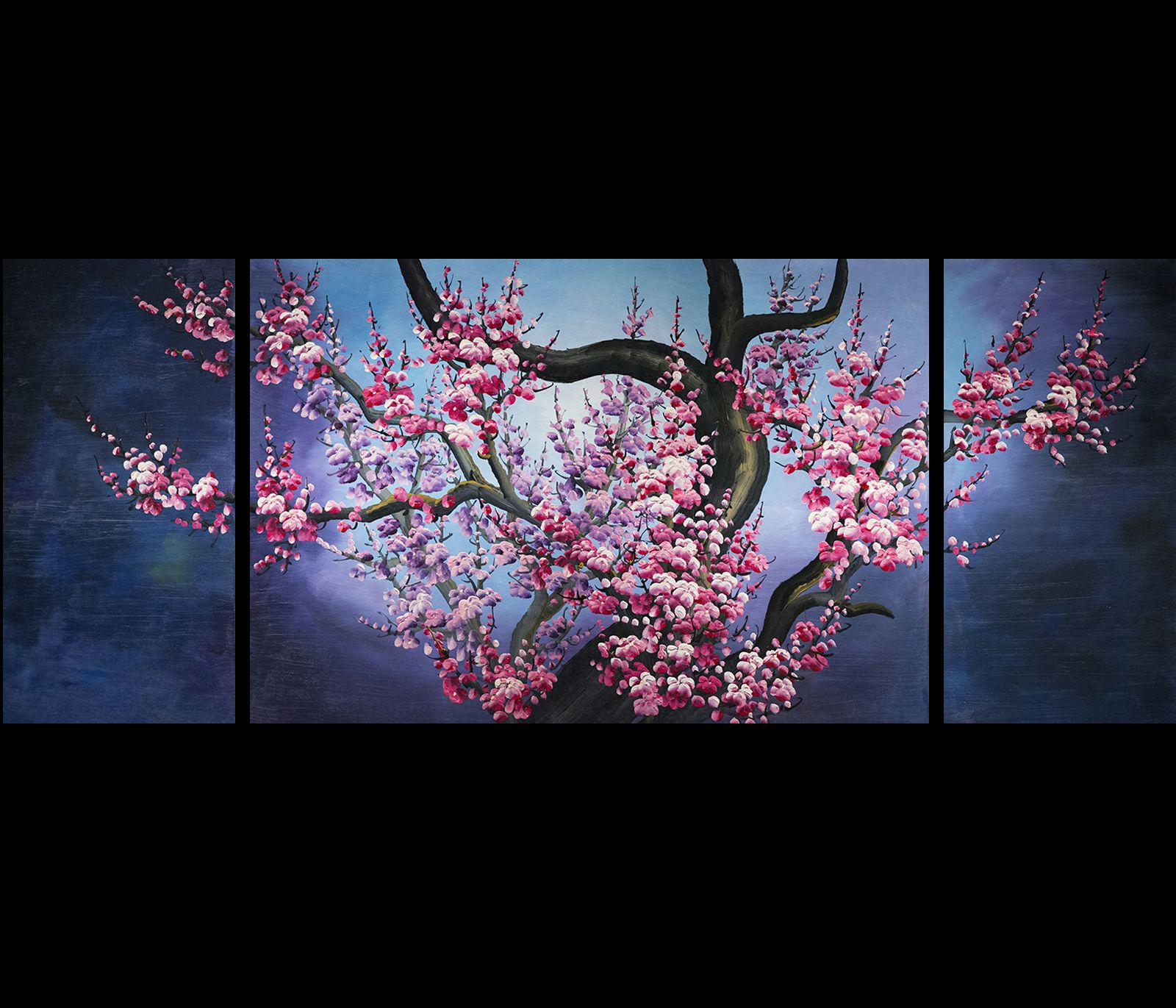 Exceptional Japanese Cherry Blossom Painting Abstract Art Canvas Wall Art Part 18