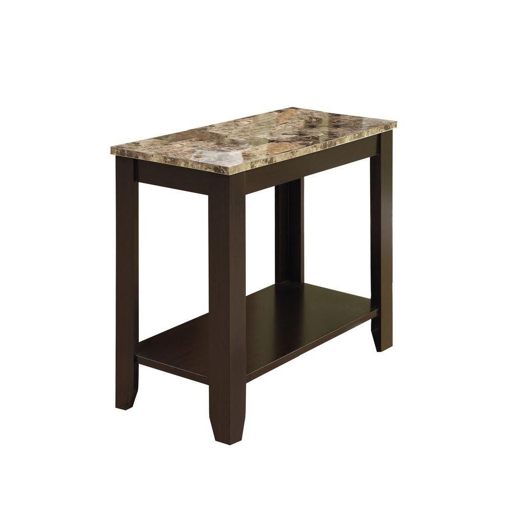 24 Inch X 12 Inch X 22 Inch Accent Table In Cappuccino With Marble Top Marble End Tables End Tables Table