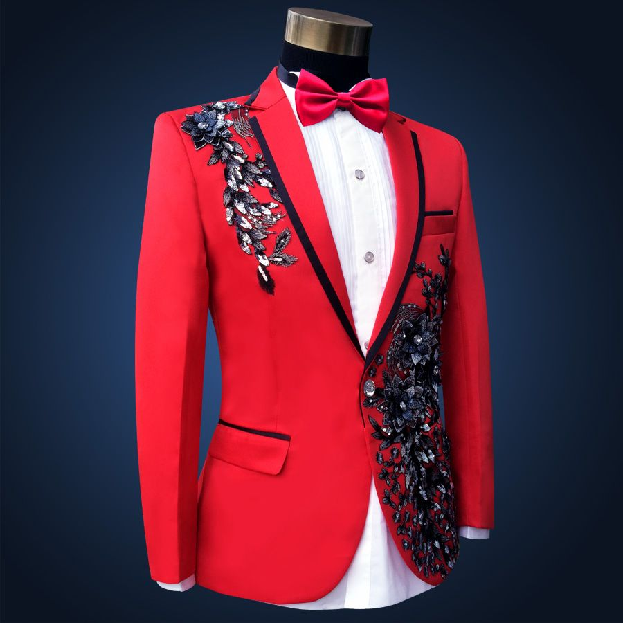 Click to Buy ucuc Latest Coat Pant Designs Red Applique Formal Custom