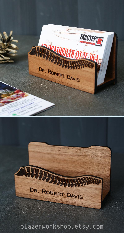 Personalized Chiropractor Desktop Business Card Holder Masseur Massagist Gift Present Chiropractic Decor Art Desk