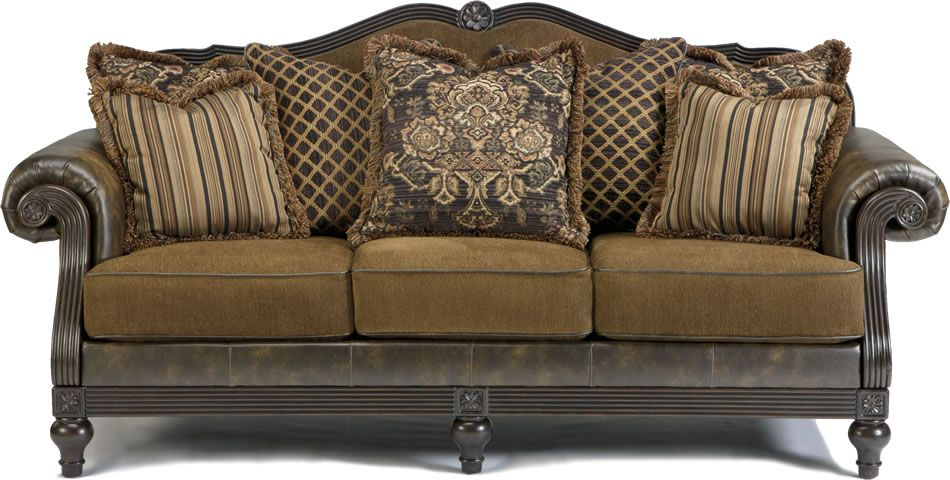 Glynallen Teak Traditional Sofa With Roll Arms Wood Trim Accents Living Room