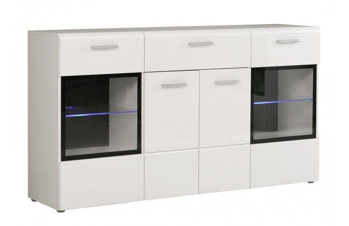Aparador blanco estilo moderno con vitrinas y luces LED ideal para ...