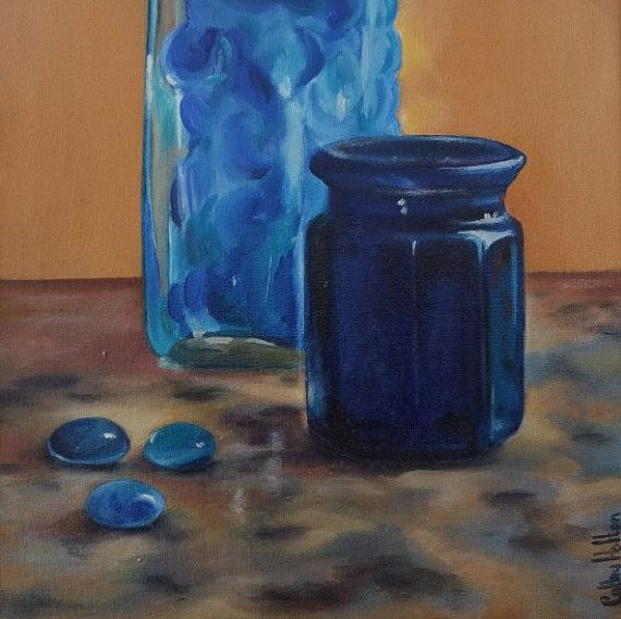 Small Oil Painting of Blue Glass Jar and Bottle by DustyLaneStudio
