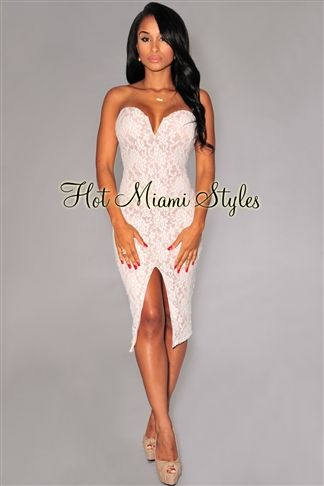7236e4392d Off-White Lace Nude Illusion Strapless Padded Knee Length Dress ...