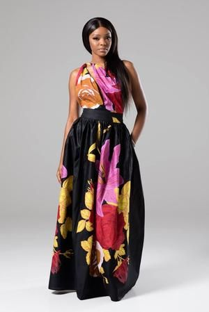 African Print Black Infinity Multiway Maxi Dress - Stella