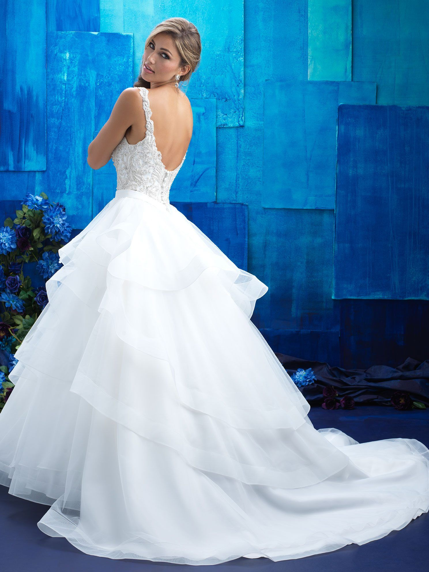 Style tiered structured ruffles compose the full skirt of this