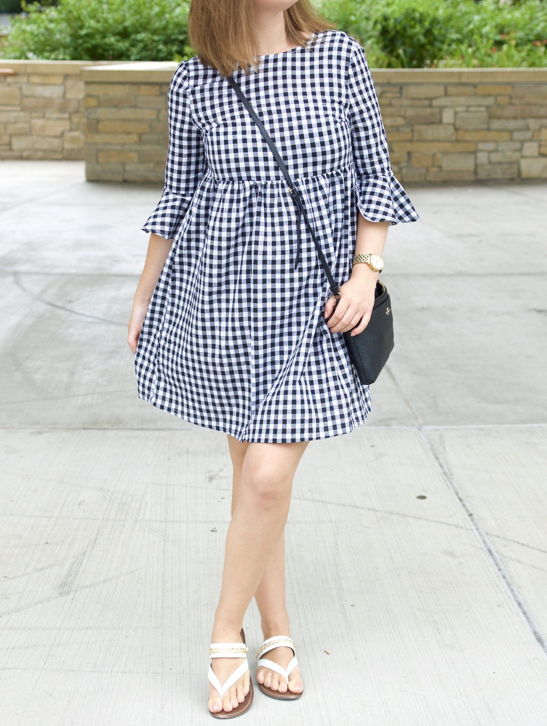 b9ccae3a7f3 Black and white gingham dress with bow ties at the back
