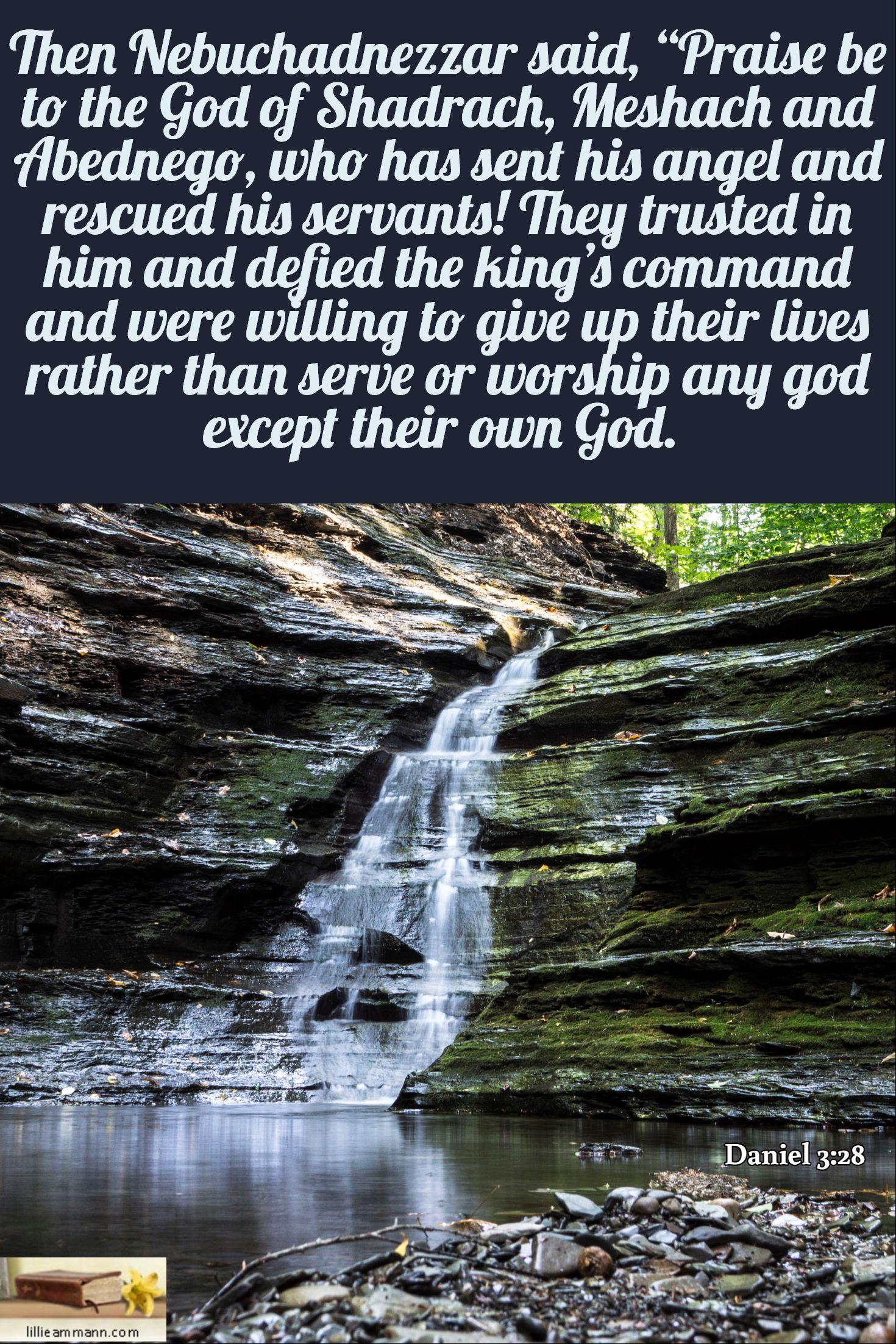 then nebuchadnezzar said u201cpraise be to the god of shadrach