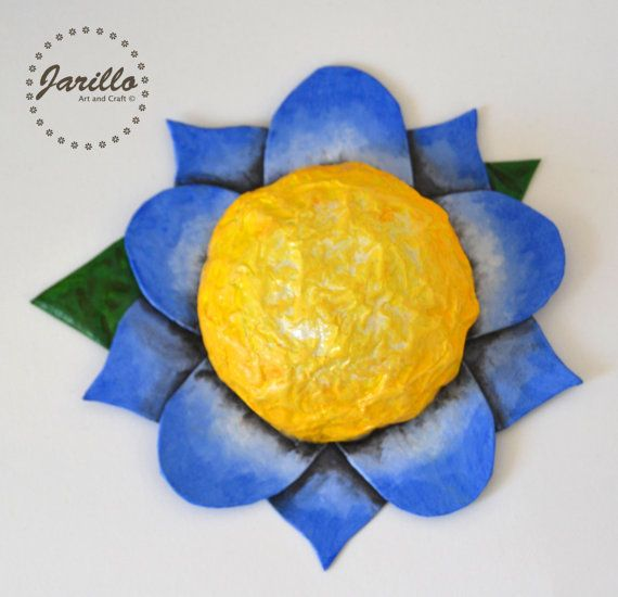 Paper Mache Blue Flower for the Wall - Floral Decoration Wall Art ...