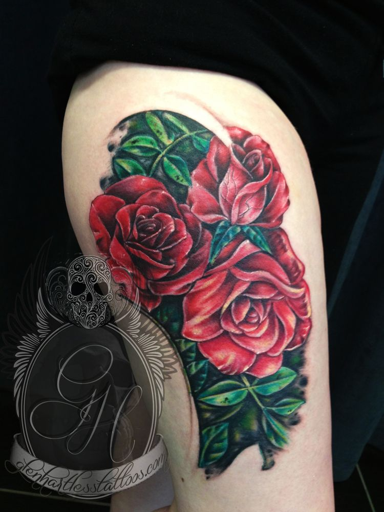 Three Rose Tattoos By Glen Hartless Tattoos Tattoo Style Traditional Tattoo