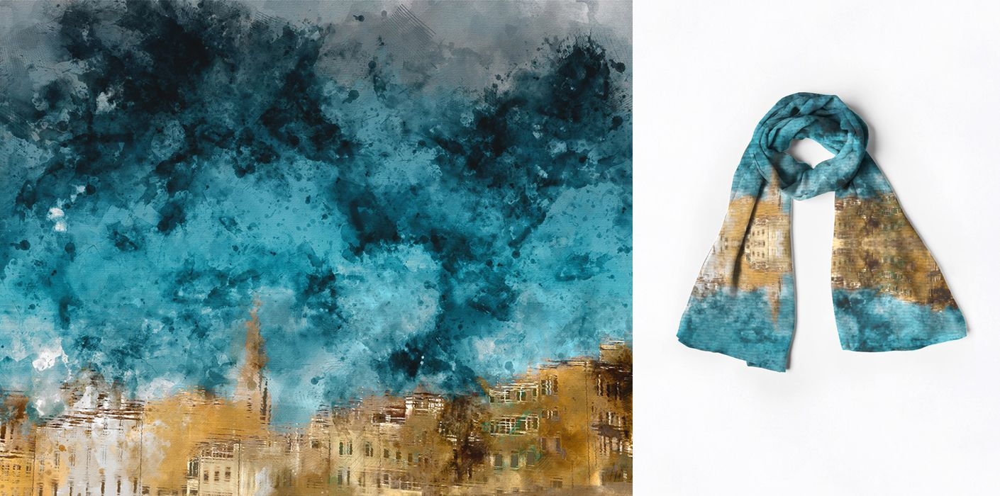 Modal Scarf - blue water colour scarves by VIDA VIDA gaOuColYkF