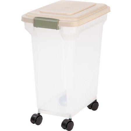 Iris 28 Quart Airtight Pet Food Container Almond White
