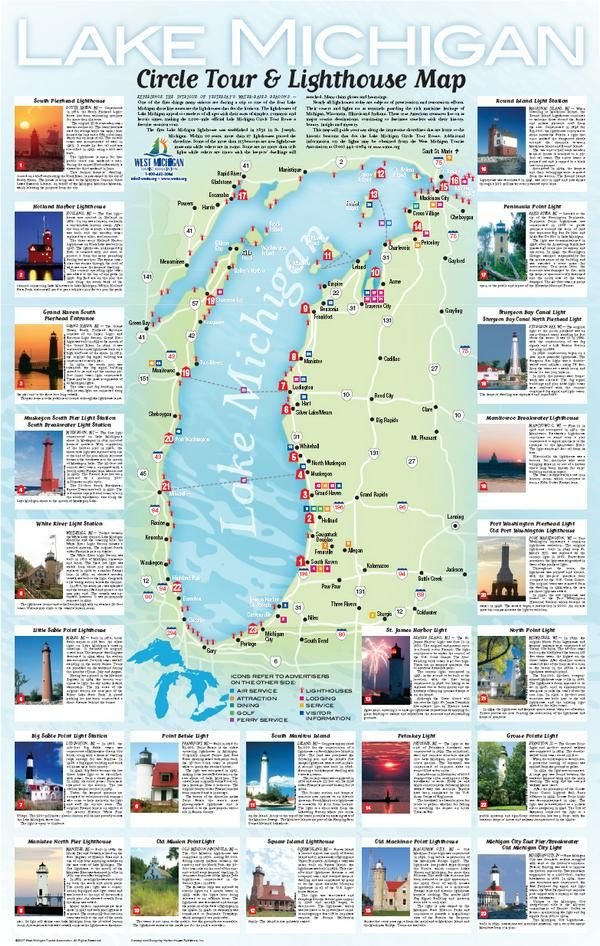 Michigan Lighthouse Tours Our New Lake Michigan Circle Tour - Lake michigan circle tour map