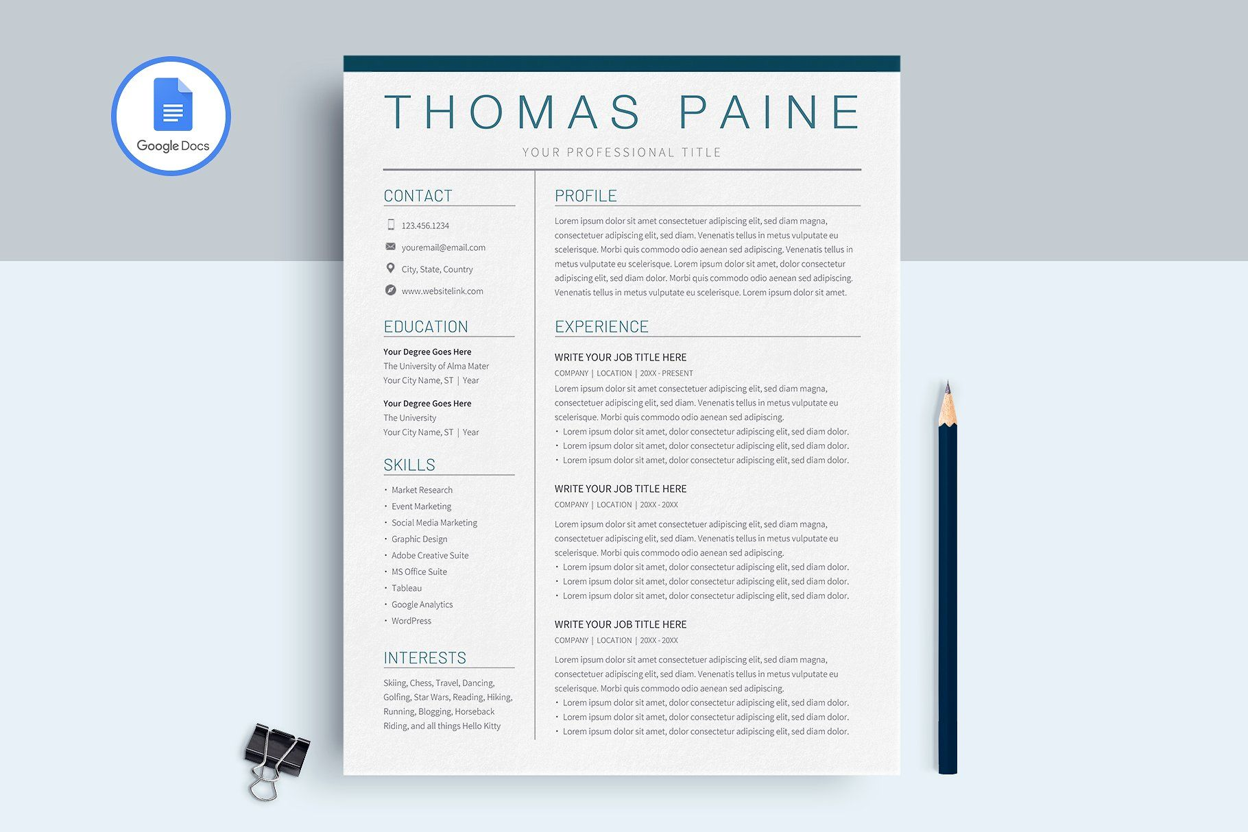Google Docs Resume Template Resume template, Cv resume