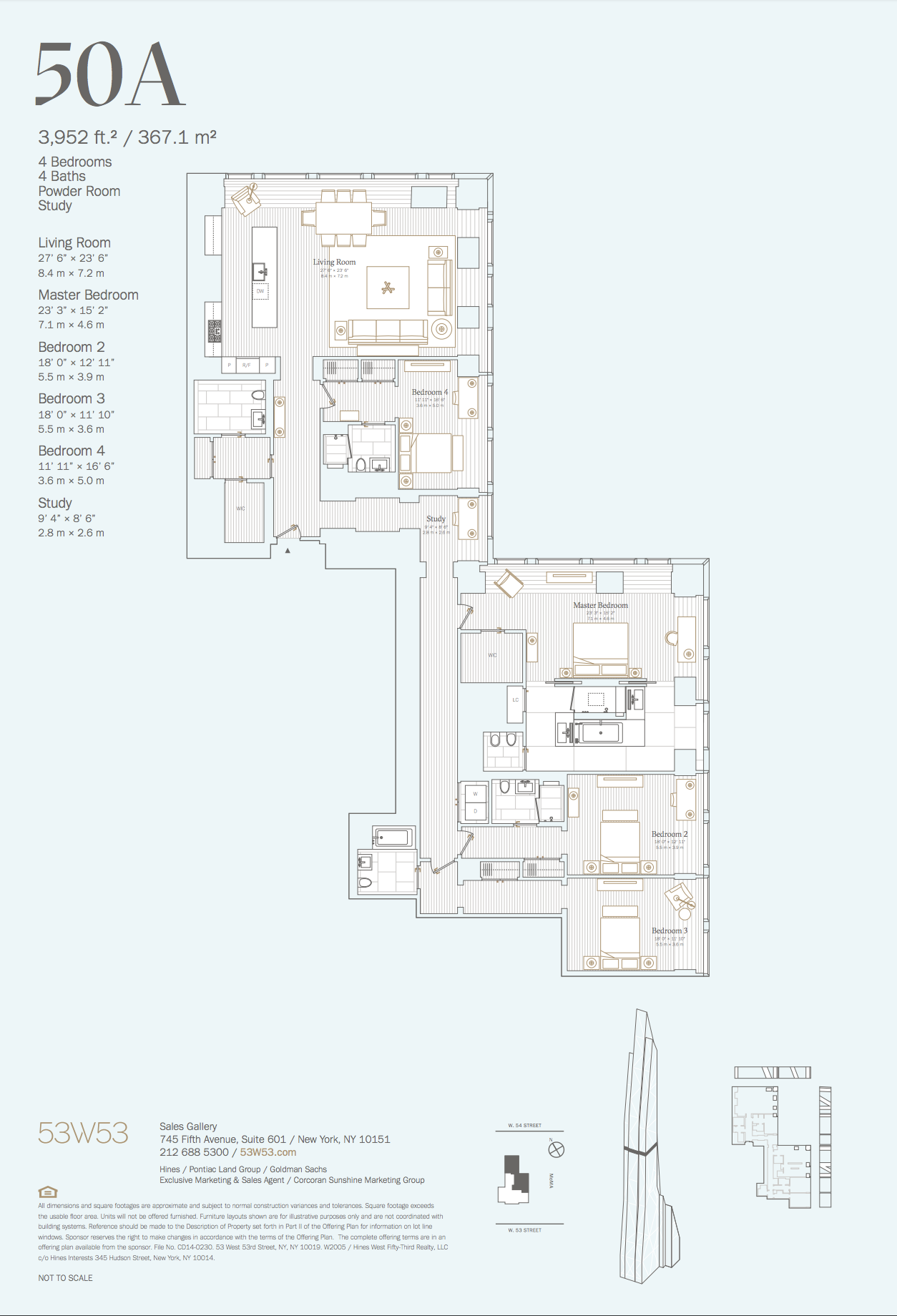 50a 4 Bedrooms 4 5 Bathrooms 3 952 Sq Ft 367 1 Sq M View Of The City And Park Open To Nort Floor Plans Hotel Room Plan Penthouse Apartment Floor Plan