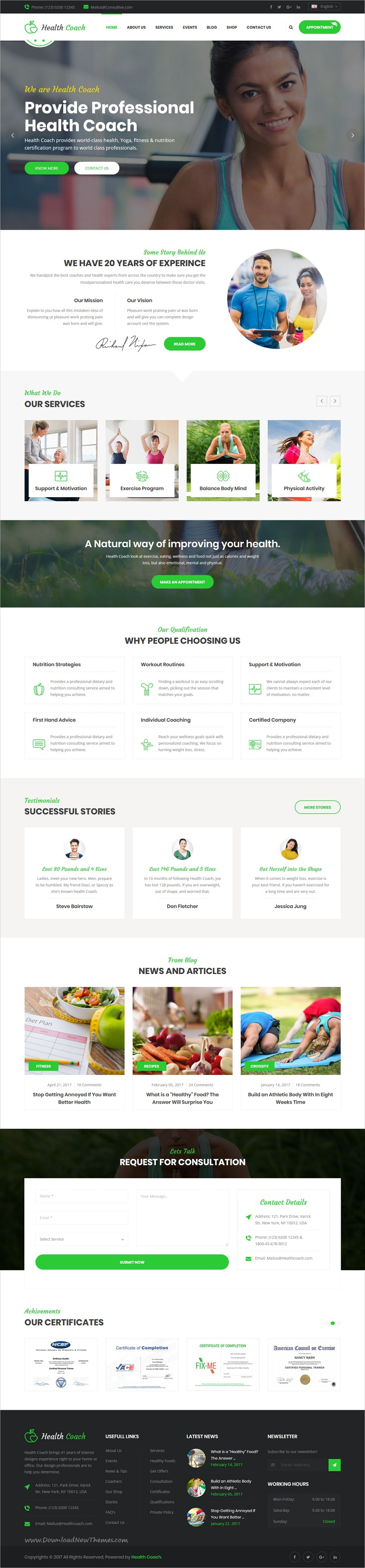 Health Coach - HTML Template for Personal Life Coaching Website ...