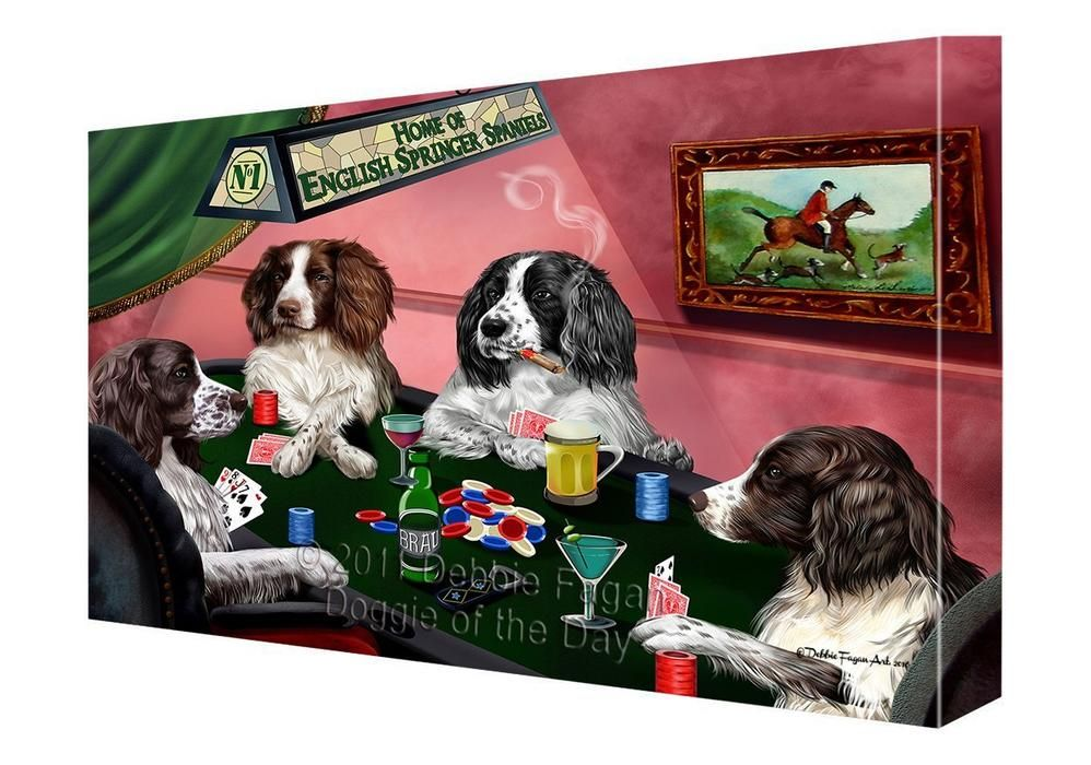Home Of English Springer Spaniel Dogs Playing Poker Canvas Gallery Wrap 1 5 Inch Dogs Playing Poker Spaniel Dog English Springer