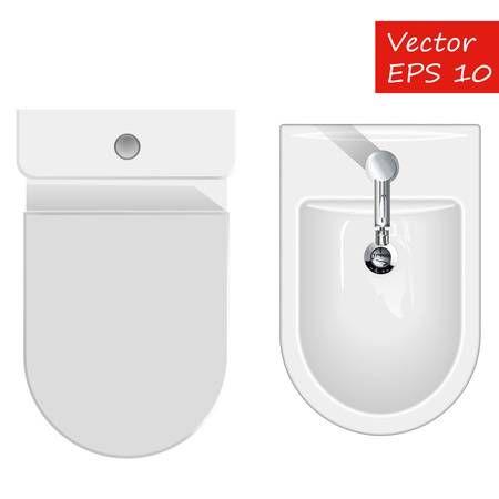 Top view on sanitary equipment for restroom like bathtub ...