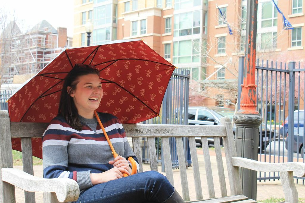 Just missed the #rain storm but we got this great shot of Ashley with her Jonas #umbrella!