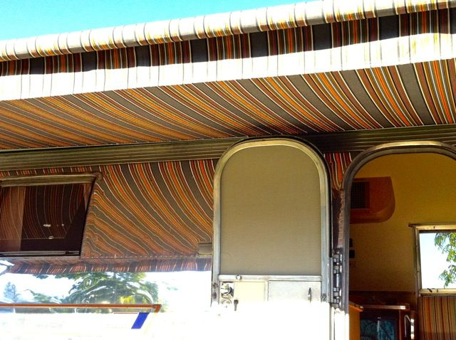 A New Vibrant Striped Awning By Zip Dee Was Installed On The Overlander It Looks Stylishly Modern R Vintage Airstream Modern Retro Trailer Remodel