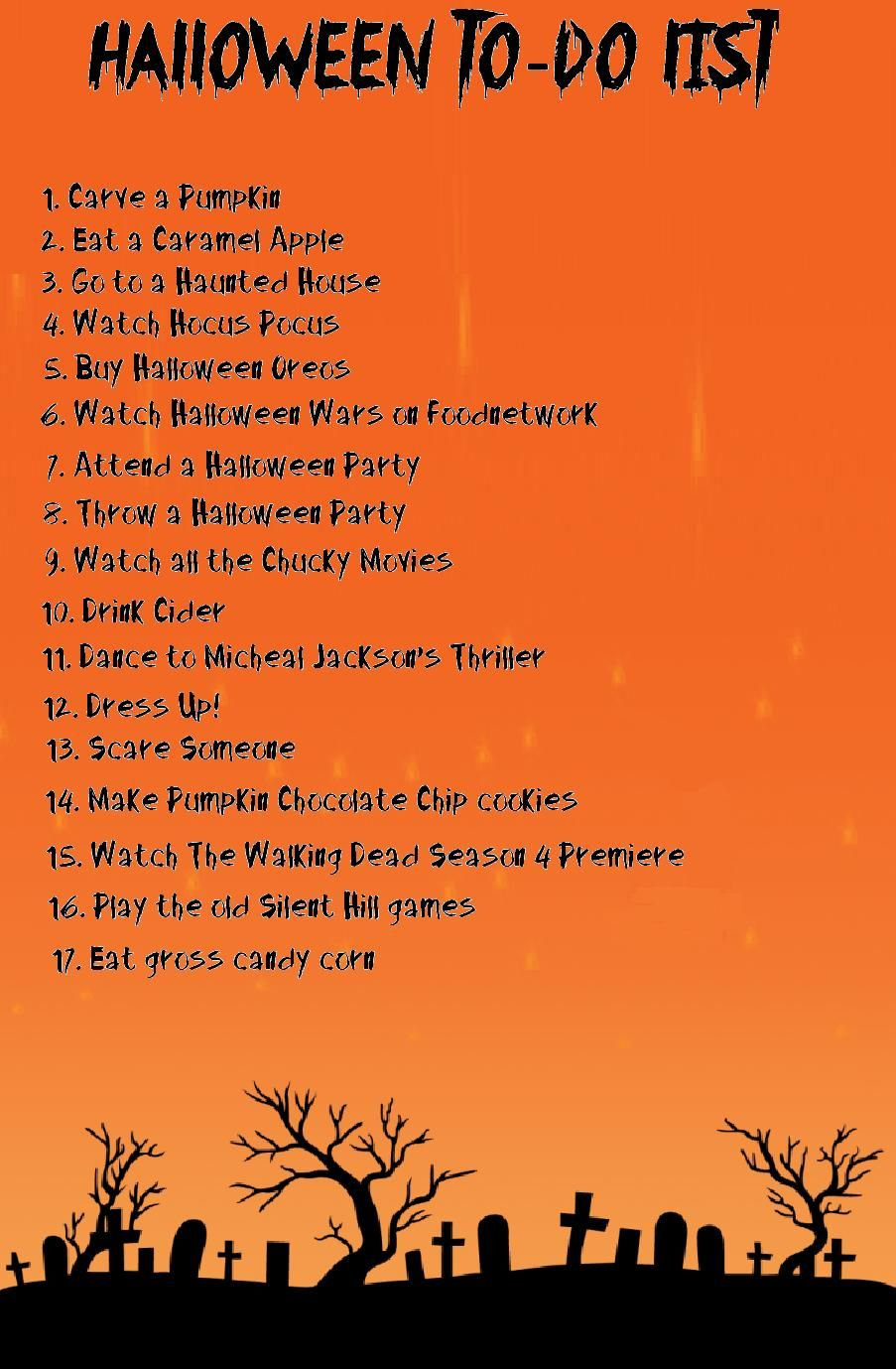 Halloween To-Do List | This is Halloween! | Pinterest | Hallows eve