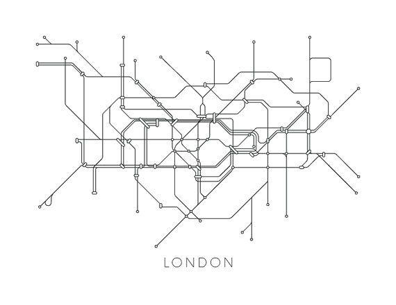 London Subway Map Print London Metro Map Poster Subway Map