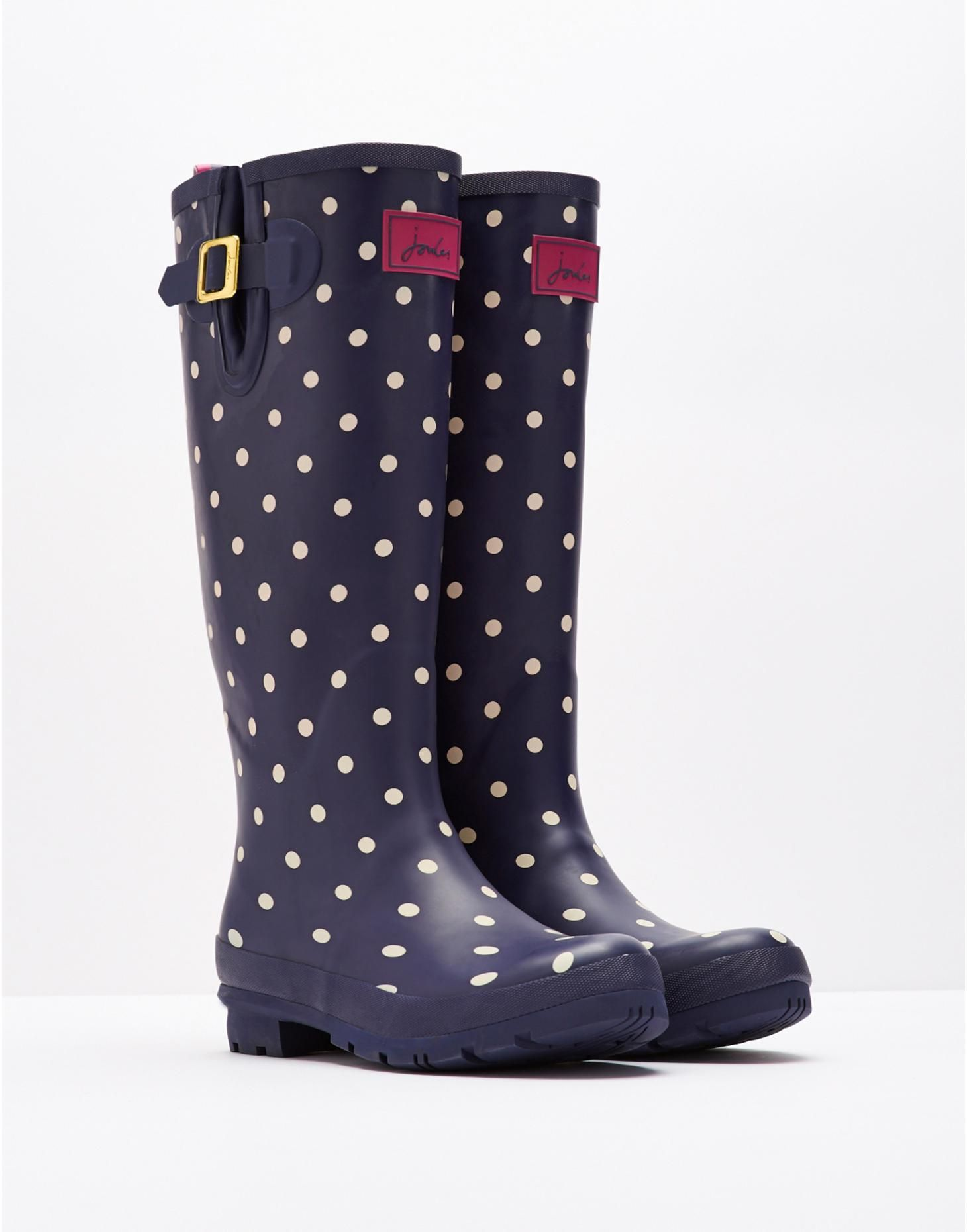 Joules Printed Womens Boots Wellington Navy Spot All Sizes