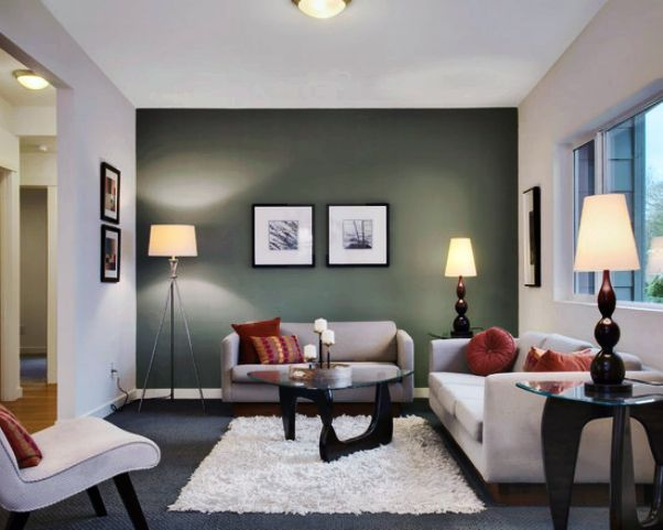 Simple Feature Wall Painting In Transitional Living Room Design