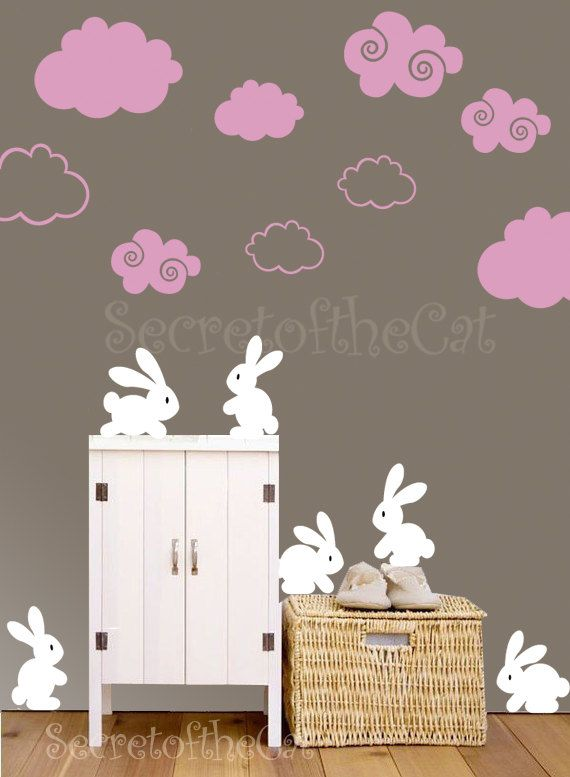 nursery decal - rabbit wall sticker - clouds decal - nursery decal