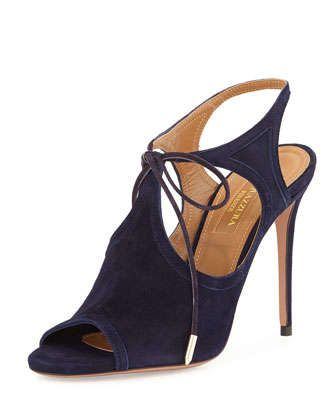 Joanna Cutout Wrap-Around Ankle Bootie, Ink by Aquazzura at Neiman Marcus.