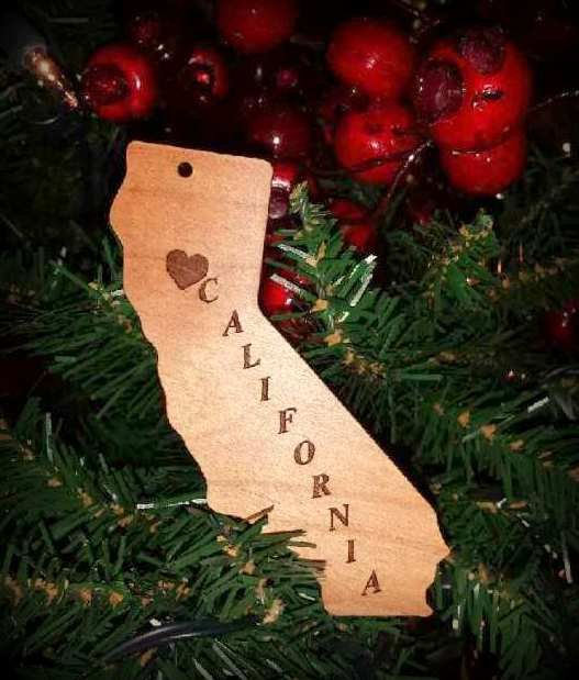 Christmas Ornament California, State of California Christmas / Holiday Ornament with Hometown Heart, Wood, Engraved, Custom