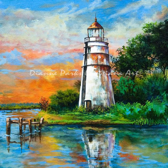 Madisonville Sunset Tchefuncte Lighthouse by DiannesLouisianaArt