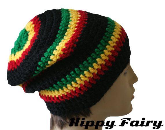 Rasta slouch hat Rasta beanie Rasta hat by HippyFairy on Etsy  f144ccd2e9c