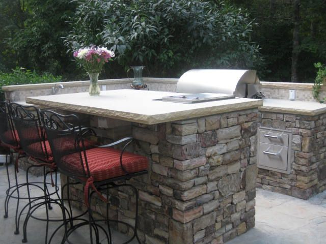 Outdoor Kitchen Braselton Ga This Is An Overall View Of The Stone Outdoor Kitchen You Can See The Bar Outdoor Kitchen Outside Grill Beautiful Backyards